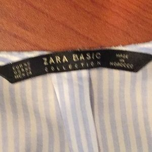 Zara Tops - ZARA Basic Ruffle Blouse Top Striped Button Down